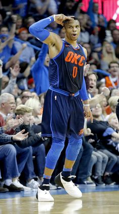 Oklahoma City's Russell Westbrook (0) celebrates a 3-point basket during the NBA basketball game between the Philadelphia 76ers and Oklahoma City Thunder at Chesapeake Energy Arena, Sunday, Jan. 28, 2018. Photo by Sarah Phipps, The Oklahoman