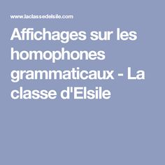 Affichages sur les homophones grammaticaux - La classe d'Elsile