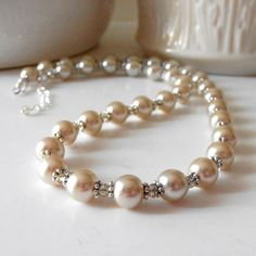 Wedding Jewelry Champagne Pearl and Crystal by FiveLittleGems, $20.00