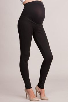 Combining the crisp cut of a tailored trouser with the comfort of our super soft leggings these maternity treggings are a must have. The comfortable slim fit style is made in stretch ponti with easy-up belt loops and an over bump fit. The seamless waistband allows the comfy over-bump band to fit snugly over your growing curves for a flexible and supportive fit. A versatile style you can easily dress up with a shirt and our maternity blazer for work or match with a trendy tunic for a casual…