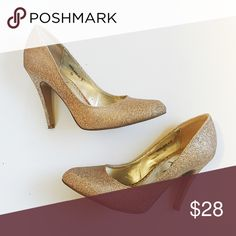 Glitter Pumps Lightly used, light gold color Shoes Heels