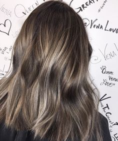 Smokey Ashy balayage hair painting + base color + haircut + hairstyle #hairbyvena