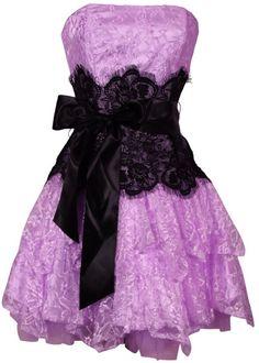 Ruffle Strapless Lace Dress Purple