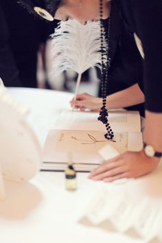 Make it even more fun with a feather! #wedding #guestbook