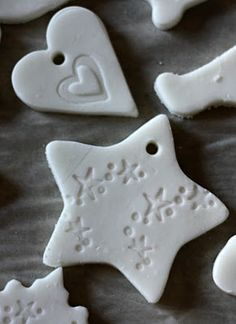 """Better than salt dough? 1/2 cup cornstarch, 1 cup baking soda, 3/4 cup water. Bake at 175 for about an hour. Great idea for modern white Christmas ornaments"""
