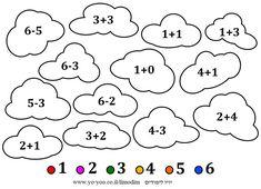 דף צביעה לפי מספרים Math, Math Resources, Early Math, Mathematics