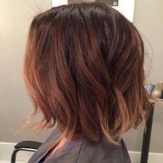 caramel auburn balayage on short hair More