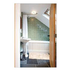 Sloped (Angled) Ceiling Shower Rod - Stainless Steel - Ideal for bathrooms built in attics and/or slanted ceilings.