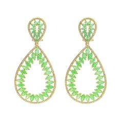 """Fronay Collection 18k Gold PL Silver Green & White CZ Marquise Earrings, 2.5"""""""