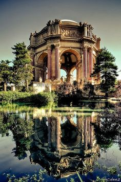 The Palace of Fine Arts in the Marina District in Golden Gate Park, San Francisco, California is a building originally constructed for the 1915 Panama-Pacific Exposition. Designed by Bernard Maybeck. Photo by McDeez via Flickr