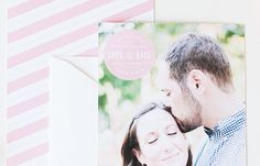 Modern and fun pink circle save the date cards with stripes from the Brklyn View Collection by Sincerely, Jackie and Brklyn View Photography