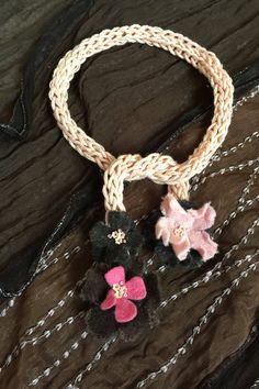 Hand-knit Floral Necklace by GabrielleEloise on Etsy