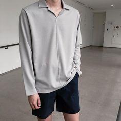 Gray long sleeves fashion is the word fashion, mens fashion Korean Fashion Men, Korean Street Fashion, Mens Fashion, Korean Men Clothing, Korean Outfits, Trendy Outfits, Fashion Outfits, Fashion Trends, Minimalist Fashion