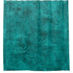 Deep Peacock Blue Oil Painting Color Accent Shower Curtain