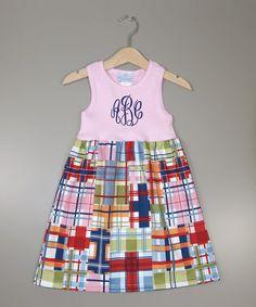 Love this Pink Plaid Monogram A-Line Dress - Infant, Toddler & Girls on #zulily! #zulilyfinds