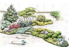 Landscape Sketch, Landscape Plans, Landscape Architecture, Landscape Design, Garden Design, Backyard Plants, Backyard Landscaping, Japan Garden, Garden Drawing