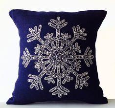 Snowflake Pillow, Green Throw Pillow, Burlap Pillow Cover - 16x16 / Navy Blue / Silver