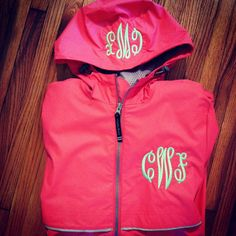 So cute! Monogrammed Rain Jacket! Etsy