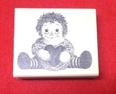 Impression Obsession E1508 doll sitting rubber stamp raggedy ann rag dolls mount #Impressionobsession #dollstamps
