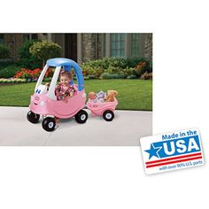 GARAGE - Little Tikes Princess Cozy Coupe Ride-On and Trailer Set - Light Pink and Blue - $ 38 + $ 30 - $ 68.