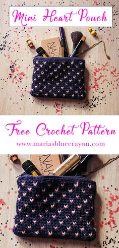 Free Crochet Pattern for a small heart pouch with zipper and lining with Fair isle/knit stitch pattern technique. Crochet Purse Patterns, Crochet Pouch, Crochet Basket Pattern, Knitting Patterns, Crochet Bags, Knitting Ideas, Sewing Patterns, Free Knitting, Crochet Handbags