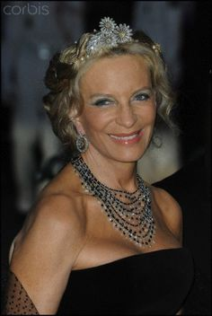 Princess Michael of Kent with The Duchess of Argyll's daisy brooches mounted as a tiara.