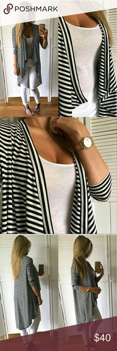 New! Stripe Drape Front Cardi S Pics from @mrsperkins  beautiful Cardi just selling anything I haven't worn yet. NO TRADES PLEASE DON'T ASK ME! Sweaters Cardigans