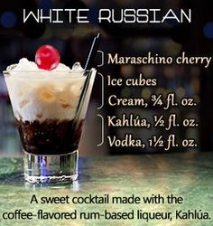 White Russian ~ Infograph Easy Drinks To Make, Easy Mixed Drinks, Kahlua Drinks, Alcoholic Drinks, Beverages, Happy Hour Bar, White Russian Cocktail, Kid Drinks, Hooch