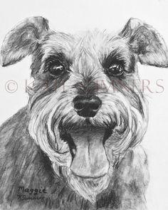 Schnauzer Art Print of Drawing 8x10 Dog Art by ESArt on Etsy, $28.00