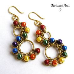 Rainbow shenandoah handmade chainmaille earrings by MeianaiArts