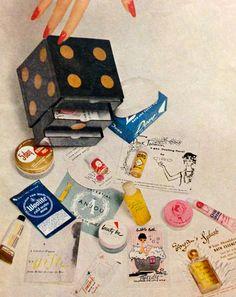 """Harper's Bazaar """"Beauty Box"""" Contents, July 1958"""