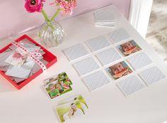 Gestaltet Euer ganz persönliches Memospiel. Ihr erhaltet 50 Kärtchen, die mit euren 25 Wunschmotiven bedruckt sind. Hier gestalten: http://www.onlinefotoservice.de/fotogeschenke/spiele/foto-memo.html