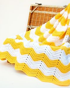 hopscotch lane: Yellow and White Chevron Blanket