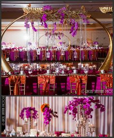 Suhaag Garden, Florida Wedding Decorator, Wedding Reception Centerpieces, Gold Tusks, Drooping Crystals, Crystal Beads, Fuchsia Phalaenopsis Orchids, Dramatic Centerpieces