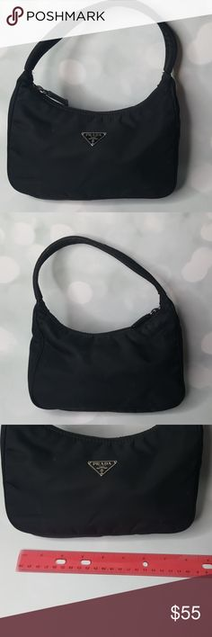 "Prada purse Pre-loved Black Prada nylon shoulder bag. Dimension lay flat approx. 10"" wide by 12"" (with shoulder drop). Overall good condition. Simple and cute, goes with any outfit. Prada Bags Mini Bags"