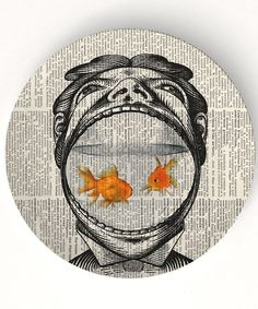 Man and his goldfish - 10 inch Melamine Plate