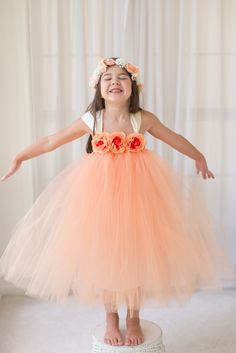Peach - Flower Girl Tutu Dress with Flower Trim