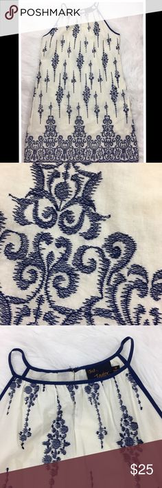 Blue Embroidered Dress Beautiful embroidered dress from Just... Taylor. It's in fantastic condition and is perfect for the spring and summer. Just... Taylor Dresses