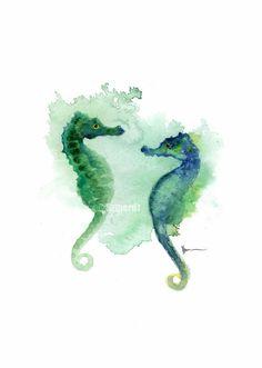 He encontrado este interesante anuncio de Etsy en https://www.etsy.com/es/listing/186157175/seahorses-watercolor-art-print-kids-room