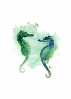 Seahorses watercolor art print Kids room decor by ColorWatercolor  #seahorses #painting #forsale