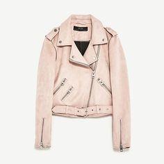 Zara Faux Suede Moto Jacket With Zips
