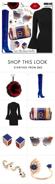"""Fall Footwear: Over-The-Knee Boots"" by dressedbyrose ❤ liked on Polyvore featuring Fendi, Aquazzura, Christian Dior, Keepsake the Label, Tory Burch, Eshvi, Joanna Laura Constantine, Delfina Delettrez and Lime Crime"