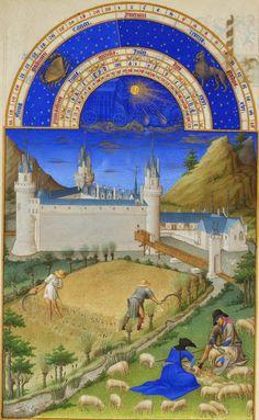Começa o mês de Julho Tosquia de ovelhas. Ao fundo o Château de Clain próximo a Poitiers.  do livro: Les très riches heures (em português, As mui ricas horas do duque de Berry)