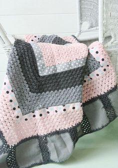 Crochet Baby Blanket - pink grey