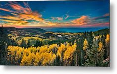 Lanedscape Metal Print featuring the photograph Fall Sunset On Grand Mesa by James O Thompson