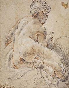 Jacob Jordaens - Female Nude, Seen From the Back - chalk drawing, ca. 1640 - (Collection National Gallery of Scotland) Male Figure Drawing, Figure Drawing Reference, Life Drawing, Drawing Sketches, Trois Crayons, Rembrandt, Jacob Jordaens, History Of Drawing, Google Art Project