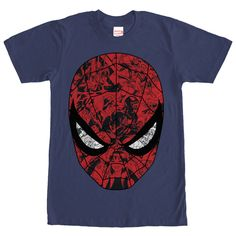 Spider-Man is hiding all sorts of secrets behind the Marvel Spider-Man Mask Navy Blue T-Shirt. Spideys mask is featured with several scenes from past battles in black, red, and white on this blue Spider-Man shirt.