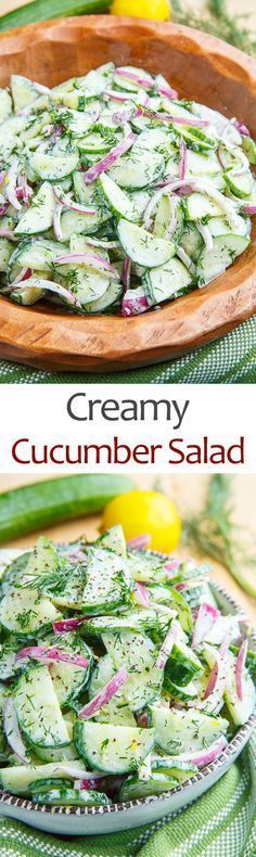 Creamy Cucumber Salad Recipe, Delicious, Simple Salad I Used 14 Cup Sour Cream And Vinegar. I Added 1 Tablespoon Of Miracle Whip, A Teaspoon. Creamy Cucumber Salad, Creamy Cucumbers, Cucumber Recipes, Easy Salads, Healthy Salads, Summer Salads, Healthy Eating, Summer Food, Summer Bbq