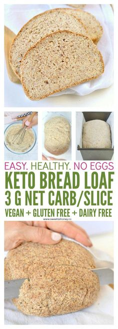 BEST KETO BREAD LOAF NO EGGS, Low Carb with coconut flour, almond meal, psyllium husk and flaxmeal. A delicious easy keto sandwich bread with only g net carb per slice to fix your sandwich craving with no guilt! Easy Keto Bread Recipe, Best Keto Bread, Ginger Bread Cookies Recipe, Lowest Carb Bread Recipe, Easy Cake Recipes, Bread Diet, Recipe Tasty, Dessert Recipes, Coconut Flour Bread