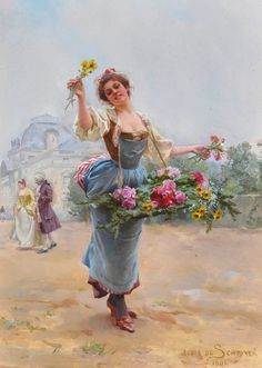 Louis Marie de Schryver vision on the Parisian life Victorian Paintings, Victorian Art, Art Floral, Flowers For Sale, Art Ancien, Art Themes, Classical Art, French Artists, Woman Painting